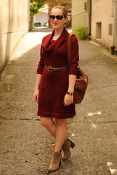 Stacey L - Fred Meyer Sweater Dress, Ellington Handbags Brown Bag, Jeffrey Campbell Beige Boots - Sweater dress