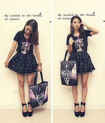 Violet Chang - Black Skeleton Top, Stars Leather Skirt - Pony Skeleton Little Star