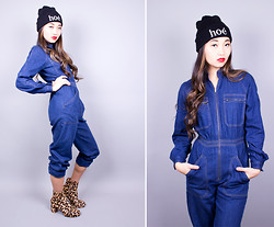 Roxy Starr - Nasty Gal Leopard Print Booties, Vintage Denim Jumpsuit, Twice Lux Hoe´ Beanie - Jail break