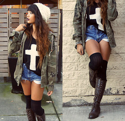 Samantha San Antonio - Sister's Closet Cross Sweater, White Beanie, Camo Jacket, Thrifted High Waisted Shorts, Forever 21 Over The Knee Socks, Lace Up Combat Bootss - How sinister.