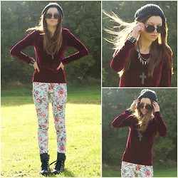 Agata P - Romwe Wine Red Velvet Top, Asos Floral Pants - All These Thoughts , They Make No Sense