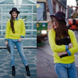 Heidi Caterina - H&M Knit, H&M Hat, Crocker Jeans, Halens Ankle Boots, Gina Tricot Clutch - HAPPY :: SAD