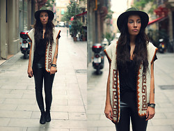 Taru L - Vintage Knitted Vest, Forever 21 Hat, Lindex Faux Leather Pants - Knitted