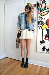 Savannah Scott - Thrifted Diy Studded Camo Hat, Thrifted Denim Jacket, H&M Shorts, Dr. Martens Boots - Camouflage