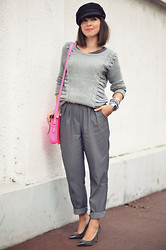 Valentine Hello - Vintage Sailor Cap, Quiksilver Grey Sweater, Asos High Waisted Trousers, The Cambridge Satchel Company Neon Pink, Georgia Rose Grey Heels - Earl Grey