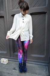 Astrid Moet - Vintage, Black Milk Clothing Purple Galaxy Leggings, Asos Blue Velvet Boot - Intergalactic.
