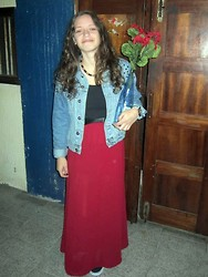 Rita Lopes - Stradivarius Long Red Skirt, Pull & Bear Spiked Shoulder Denim Jacket - Do you want to see my birthday cake?