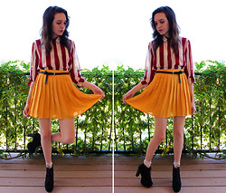 "Allie Finch - Forever 21 Stripped Maroon/Cream Blouse, Forever 21 Mustard Skirt, Ebay ""Cuban Style Heel"" - Summer Sunburst"