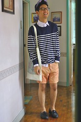 Jehan R. - 21 Men Striped Jumper, Diy Shorts, White Button Down, Topman Printed Shopper, Cap, Loafers - Ceremony
