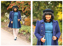 Ragini R - Asos Velvet Collar Dress, New Look Military Coat - Shades of Blue