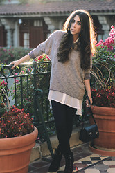 Natalie DLV - Cotton On Sheer Top, Topshop Jumper, Dolce Vita Booties - Hola Chola