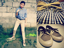 Cherys L - Giordano Men's Shirt, Diy Bowtie, Love Connector Ring, Jazz Brown Shoes - If I were A Boy