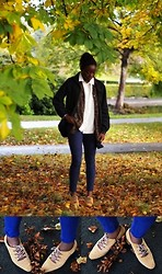 Olutosin K - Charity Shop Suede Lace Ups, H&M Jeans, Cream Button Up, Grey Coat, Brown Thin Cardigan - Autumnal