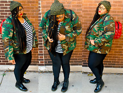Tiffany Tucker - Army Surplus Store Jacket, Asos Metallic, Yours Clothing Stripped Top, Gisela Ramirez Shiny Leggings, Doc Marten Combat Boots, Vintage Blow Up Backpack - These are a Few of My Favorite Things