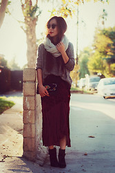 Hallie S. - Vintage Velvet Skirt, Topshop Top - Oxblood