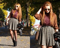 Judyta M. - Zara Blouse, Ray Ban Sunglasses, Diy Skirt, Vintage Bag, Allegro Shoes - October light.