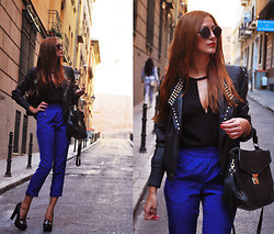 Andrea Gomez - Sfera Jacket, Zara Top, Zara Pants, Aldo Heels - BLUE GLAM ROCK