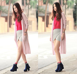 Mayo Wo - Choies Long Pink Cardi, Choies Hot Pink Knit Top, Beckybwardrobe Wrap Skirt, Sugarfree X Mayo Wo (Launched Next Week!) Tassel Boots - Longing for pink