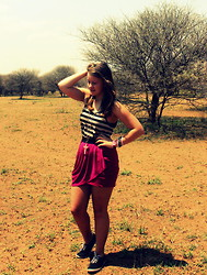 ♡Roneque J - Legit Maroon Skirt, Cotton On Striped Vest, Divas Cross Neclace, Tomy Sneakers - South Africa ♡