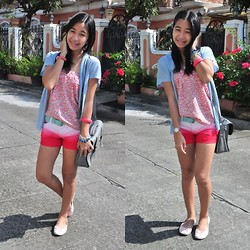 Geraleen Nicole Gaytano - Jellybean Skirt Turned Top, Uniqlo Cardigan, Next Jeans Ombre Shorts, Sm Accessories Belt, Solemates Flats - Ombre love
