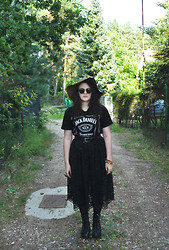 anaïs ▲ - Jack Daniel's Old No.7, Mum's Belt, Grandma's Lace Skirt, Sunnies, Gina Tricot Hat, Big Ring, St. Dominic's Fair Favourite Ring, Braceleeeeets, Vagabond Platform Shoes, Drain, Nature Tree -  jack, tell me something about daniel.