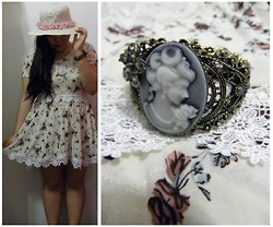 Lee.Sze ♥ - Diy Floral Hat, Vintage Shop And Diy Lace Add On Fit Flare Floral Dress, Cameo The Label Filigree Bracelet - (✿◠‿◠)