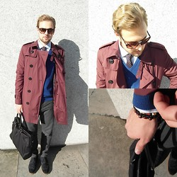 Martin Louis - Persol Sunglasses, Burberry Wine Red Trench Coat, Jack&Jones Premium Striped Shirt, Lacoste Blue V Neck Pullover, Dotted Tie, Cos Wool Pants, Kurt Geiger Brogues, Hugo Boss Holdall Bag - LDN Outfit / thehypes.co.uk