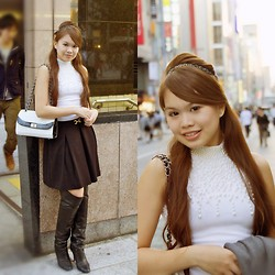 Aneka Tsujimoto - Japan Bag, Japan Turtle Neck Top, Japan Black Skirt, Diana Black Boots, Claire's Headband - Diana