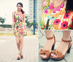 Sophie Ramos - Mel's Collection Necklace, Melty Kiss Floral Dress, Fashion Infinity Orange Tassel Earrings - Full Bloom