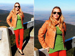 Lucie Elle M. - Jake´S Leather Jacket, Love Green Top, Lindex Pants, Aldo Shoes - Autumn Colors