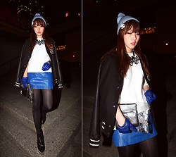 Ivy Xu - Diy Fishnet Beanie, H&M Baseball Jacket, Diy Clear Clutch, Vintage Leather Skirt - Vancouver Eco Fashion Week - Day2