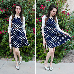 Allie Finch - Forever 21 Navy/Cream Spotted Dress, Pacsun White/Cream Stripped Cardigan - Special Occasion