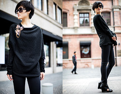 Wolfie Chen - O'van Batwing Sleeve Slouchy Sweater, Handmade Pin - RE-BLACK-ATION