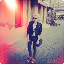 Monika Tanas - Round Sunnies, Vintage Nn Leather Jacket, Misbhv Change The Channel Tank Top, Nn Quilted Bag, Nn Silver Watch, Ccc Blue Ring, Sh Jeggins, Converse All Star Sneakers - Mother Protect (Goldroom Remix) // Niki & The Dove
