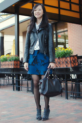 Alicia Jean - Club Monaco Carlye Leather Jacket, Equipment Adele Silk Polka Dot Shirt, Tibi Paloma Bird Print Skirt, Loeffler Randall Mesh And Suede Booties, Céline Boston Bag - Birds of a feather, dot together