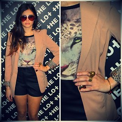 THE LOT ♥ - Self Service Blazer With Leopard Turn Up Cuffs, Self Service Leopard Top, Self Service Leatherette Shorts - Animal Instinct ♥