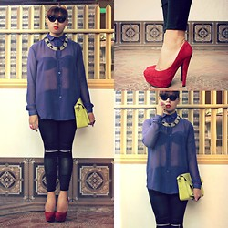 Miki Gumia - Forever 21 Sheer Shirt, Emall Leggings, Parisian Satchel, Prp Red Pumps - Stand tall