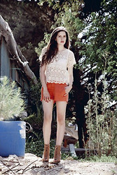 Racheli Azulay - Pull & Bear Lace Top, Zara Orange Short Pants, Zara Brown Lace Up Wedges - Behind the forest