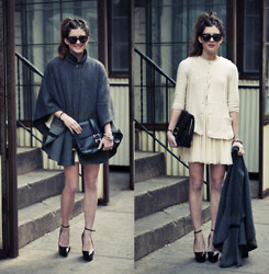 Laura Ellner - Madewell Cape, Zara Blazer, Theory Platforms, Foley + Corinna Clutch - Double Duty