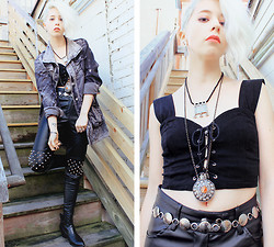 Kat W. - Crash & Burn Apparel Berlin Jacket, Romwe Spiked Leather Pants, Evil Twin Lace Up Bustier, Ebay Cowboy Boots, Vanessa Mooney Just Kickin' It Necklace - Medieval Biker Chick