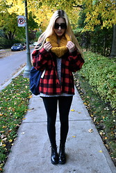 Savannah Scott - Primark Circle Scarf, Thrifted Coat, Jeffrey Campbell Boots, American Apparel Sweater, American Apparel Backpack - Rosemount