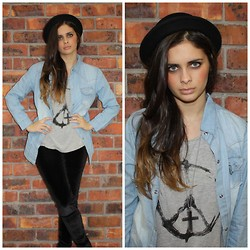 THE LOT ♥ - Self Service Denim Shirt, Self Service Peace Symbol T, The Lot Velvet Disco Pants, The Lot Bowler Hat, The Lot Cross Pendant - Just another brick in the wall