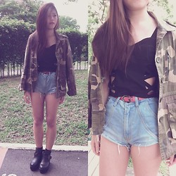Fel Chen - Thrifted Black Cut Out Bralet, Diy Denim Shorts, Whatisdope Camo Oversize Blazer, Thrifted Statement Boots, Bangkok Red Belt - My dreams