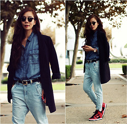 Hallie S. - J.Crew Shirt, Nike Sneakers - Weekend Wear: Double Denim + Oversized Blazer