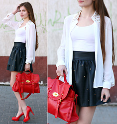 Ariadna Majewska - Red Bag, Zara White Shirt With Studded Collar, Romwe Black Leather Studded Skirt, H&M White Top, Toria Blanic Red Leather Pumps - As time goes by