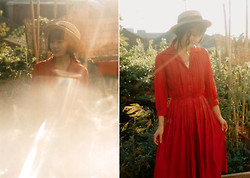 Olive Kimoto - Thrifted Vintage Straw Boater Hat, Vintage 1950s Red Frock - We built a fortress out of our secrets | mothsofmemory.com