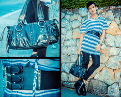 Apple Placer - Kenneth Cole Handbag, Forever 21 High Waist Belt, H&M Oversized Top, Call It Spring Wedges - HORIZONTAL Lines