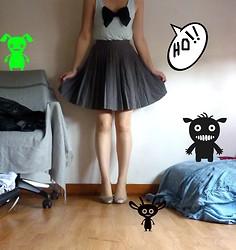Aly Mill - H&M Bow Shirt, Vintage Pleated Skirt, H&M Loyals Sparkling Ballerinas - Where is my Head ? (cutted coz I was too ugly)