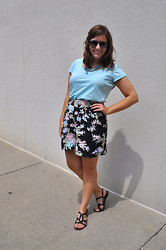 Katherine Pearce - Vintage Floral Shorts, Thrifted V Neck Tee, Target Black Sandals - Floral Shorts as Sweet as May