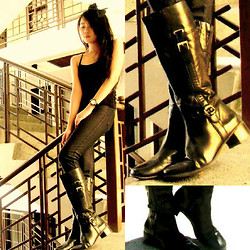 Jeraldine Yumang - Zara Black Fitted Top, Folded And Hung Black Jeggings, Parisian High End Boots - EDGY CHICK (The black lady)